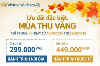 Khuyến mãi Mùa thu vàng 2016 của Vietnam Airlines