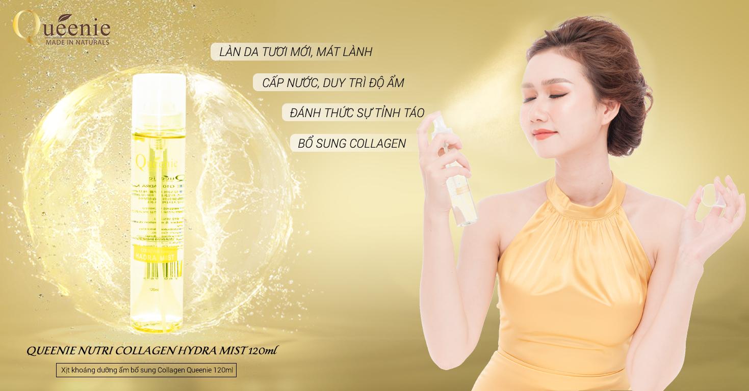 Xịt khoáng dưỡng ẩm Queenie Collagen Hàn Quốc Kangnam Mart