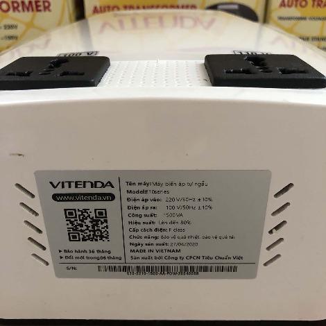 Biến áp đổi nguồn 1,5KVA ổ cắm cao cấp Vitenda từ 220V sang 110V (110V)