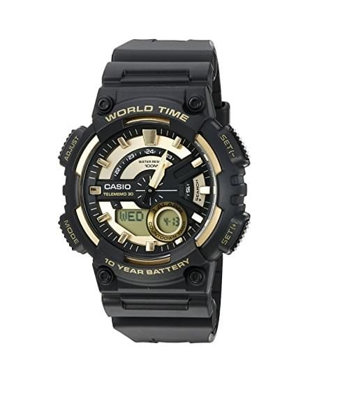 Casio Men's 'Heavy Duty' Quartz Resin Watch, Color:Black (Model: AEQ110BW-9AV)