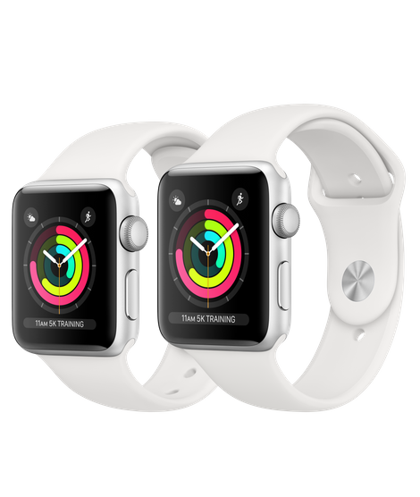 Apple Watch Series 3 Silver Aluminum Case with White Sport Band (GPS) Model 2018