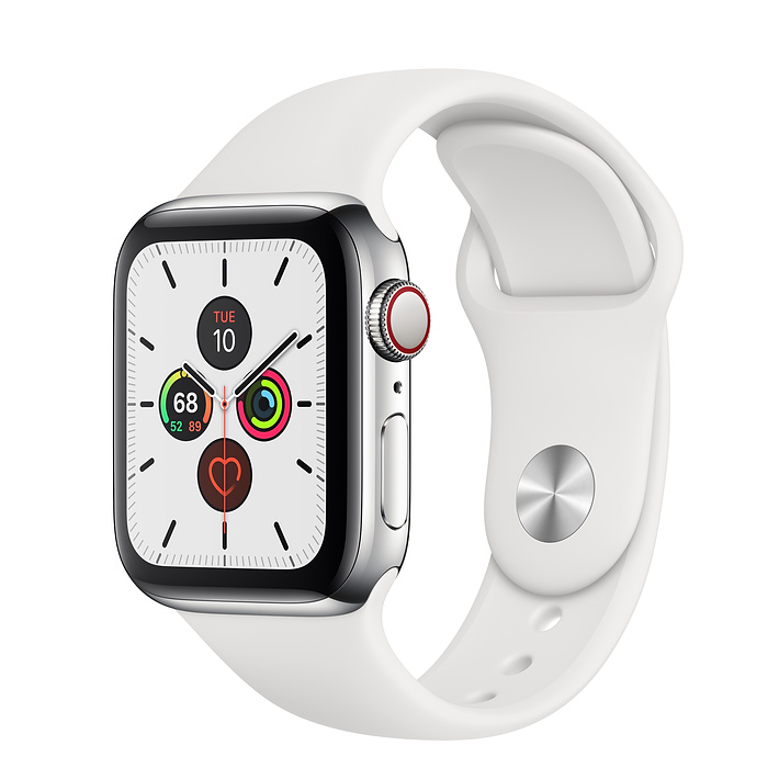 Apple Watch Series 5 Stainless Steel Case with White Sport Band (GPS+CELLULAR)
