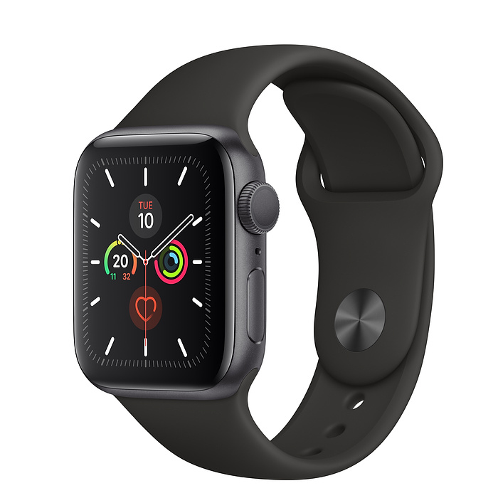 Apple Watch Series 5 Space Grey Aluminium Case with Black Sport Band (GPS)
