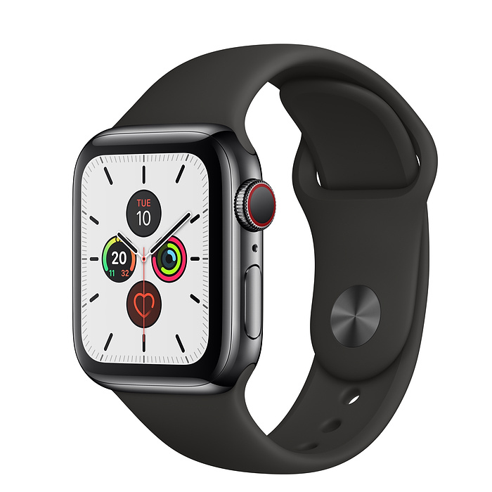 Apple Watch Series 5 Space Black Stainless Steel Case with Sport Band (GPS+CELLULAR)