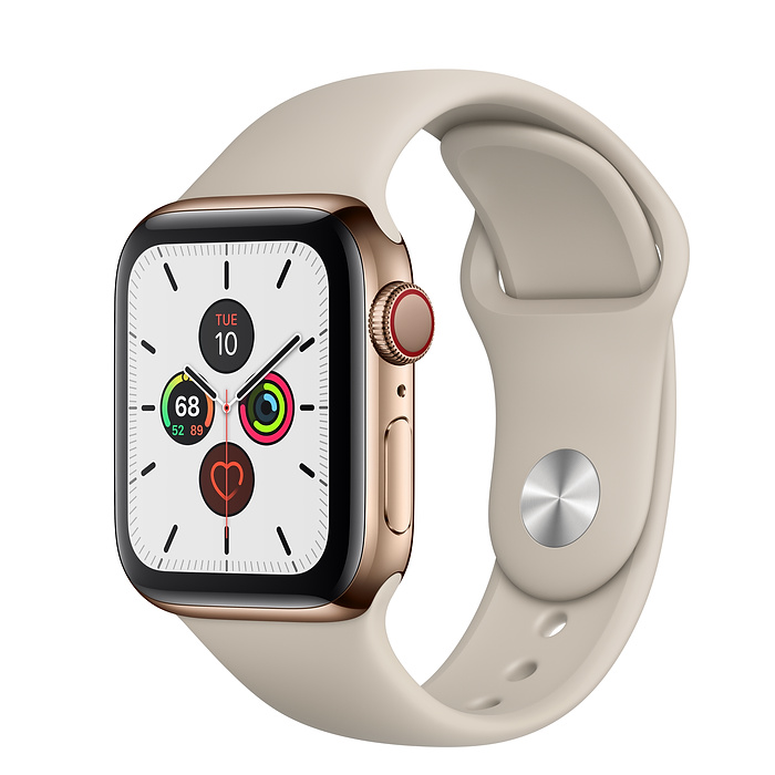 Apple Watch Series 5 Gold Stainless Steel Case with Stone Sport Band (GPS+CELLULAR)