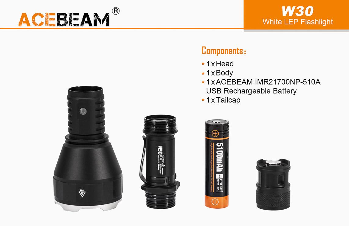 Đèn Pin Laser ACEBEAM W30 Chiếu Xa 2,5km Siêu Gom Tụ Ánh Sáng Trắng/ vàng / Đỏ