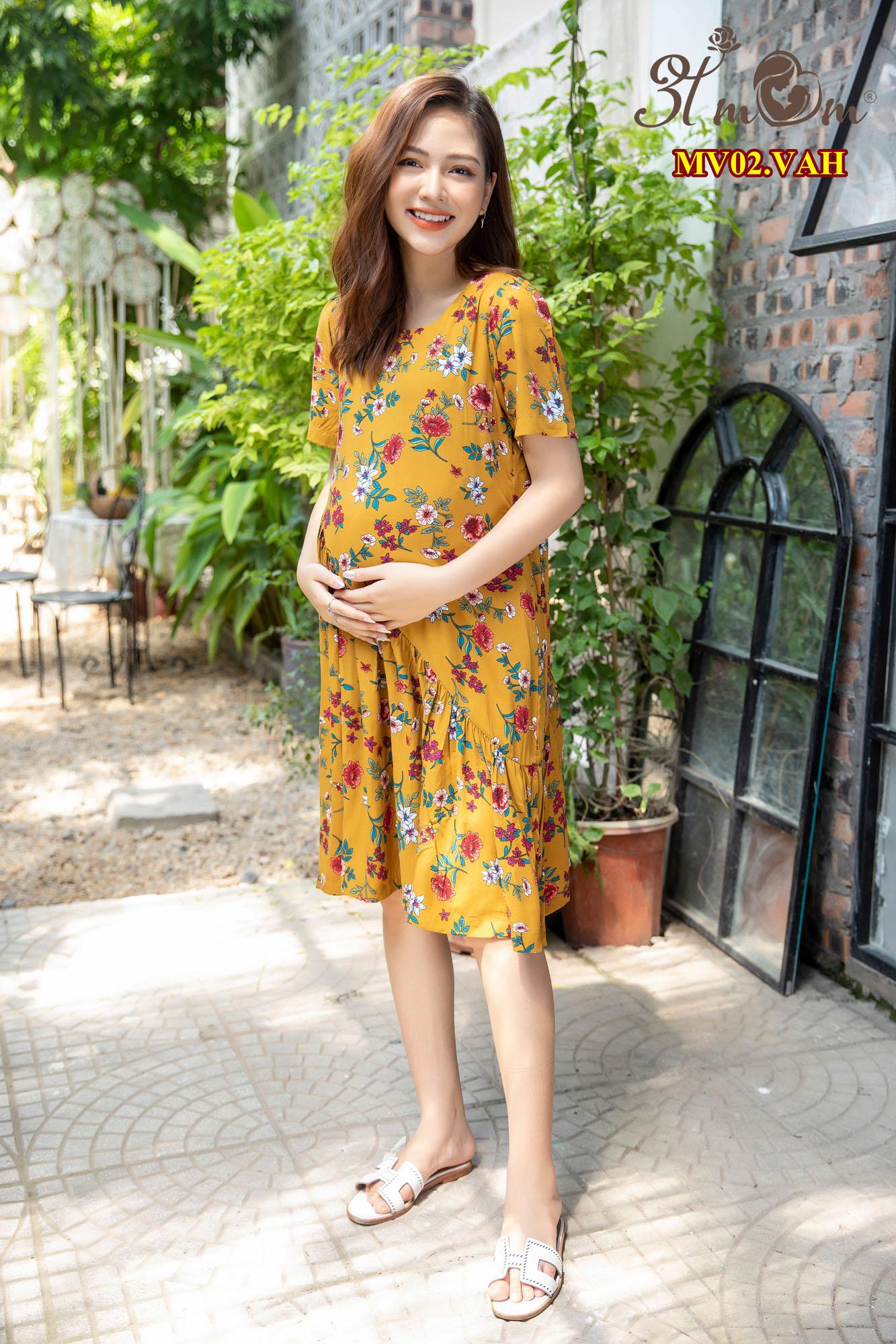 Váy tole lụa vàng hoa MV02.VAH