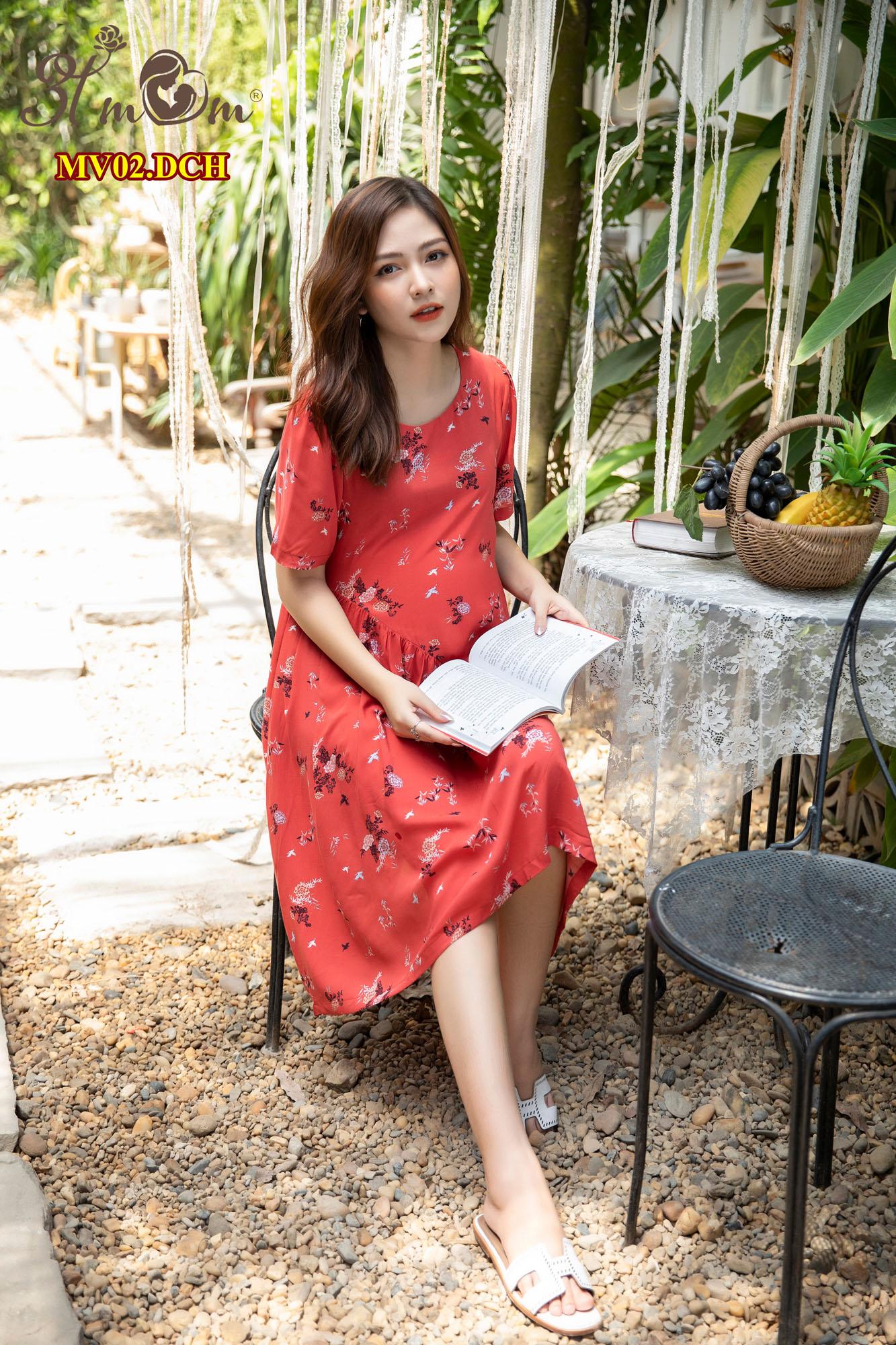 Váy tole lụa đỏ cam hoa MV02.DCH