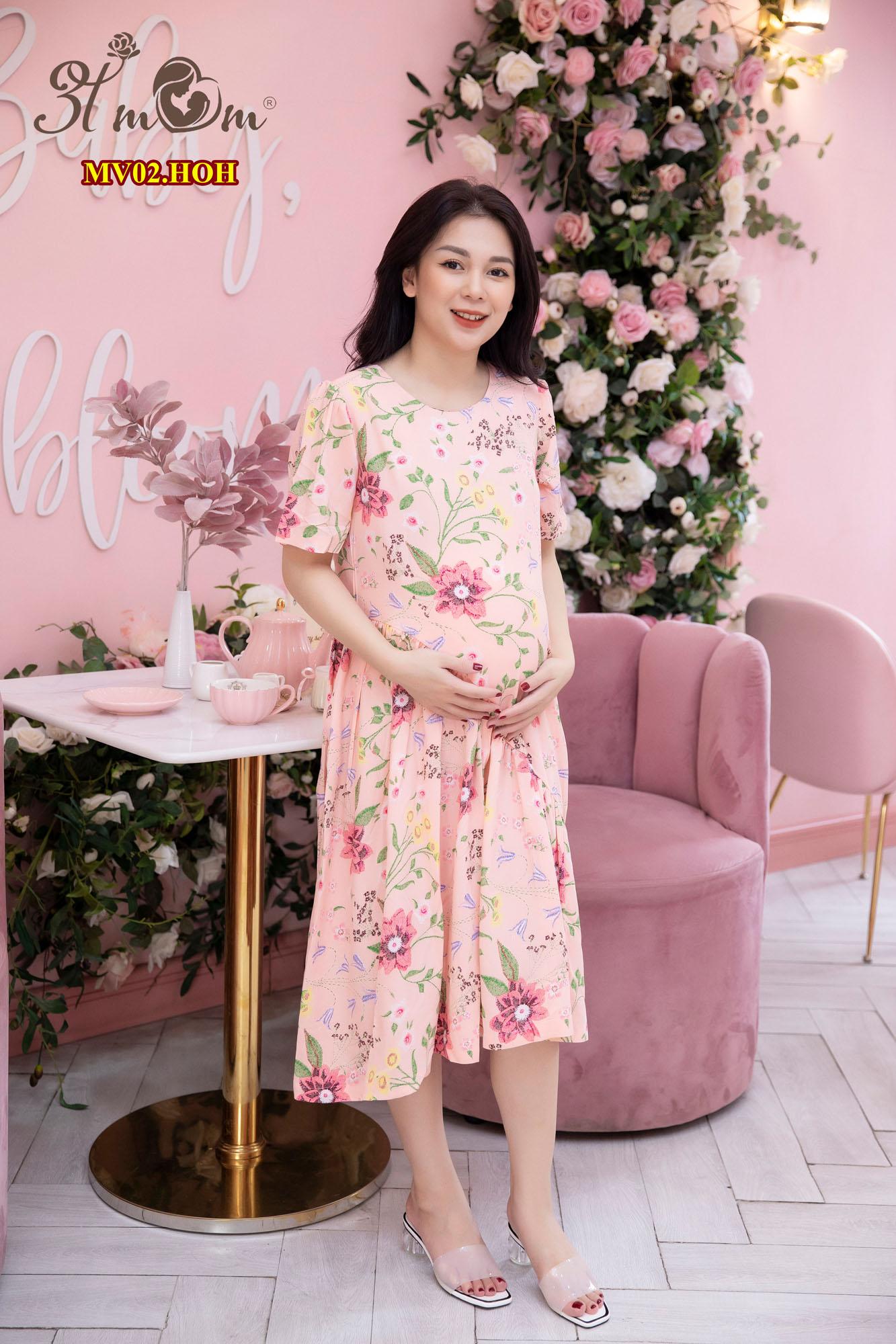 Váy tole lụa hồng hoa MV02.HOH