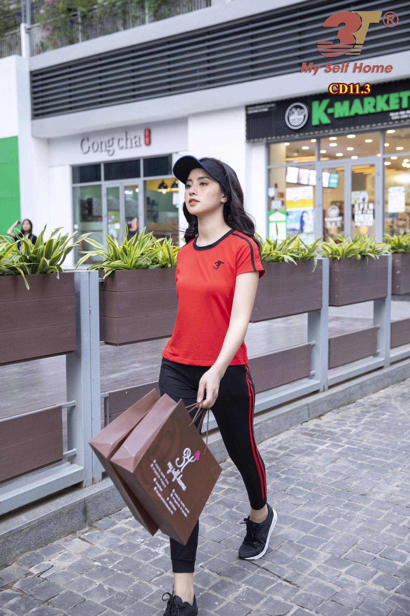 Bộ cotton dài đỏ-đen CD11.3