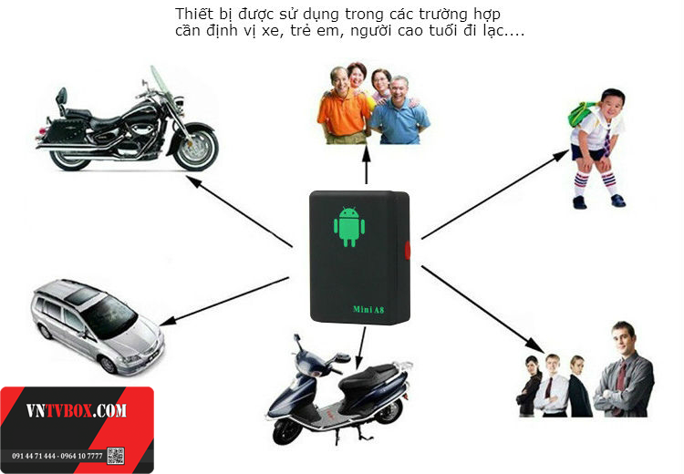 Bộ định vị thông minh Mini A8 chống mất tài sản hiệu quả