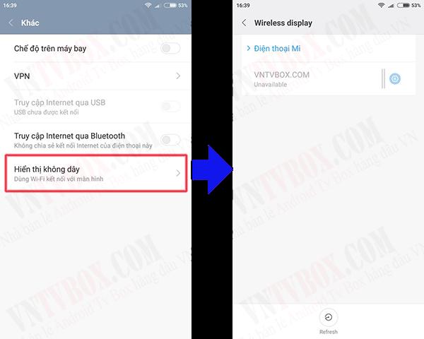Cách trình chiếu ko dây screen mirroring từ Xiaomi lên Android TV Box