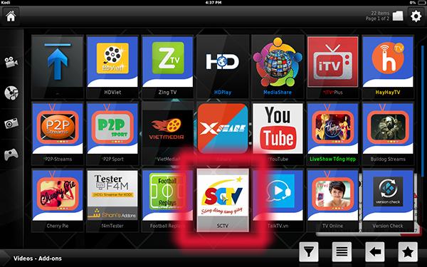 Hướng dẫn cài đặt thêm addon SCTV xem truyền hình full kênh