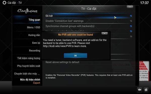 Thêm chức năng truyền hình trực tiếp cho Kodi xem bóng đá cực đã