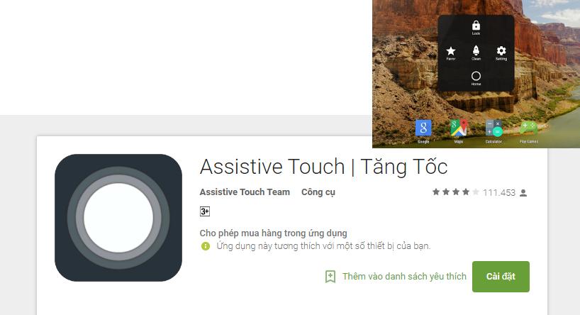 thêm nút AssistiveTouch điều hướng trên màn hình như điện thoại iPhone