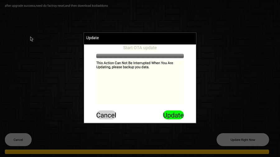 Udate OTA tự động cho TV Box Mecool cập nhật firmware mới nhất