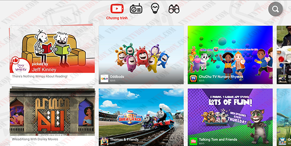 YouTube Kids dành cho trẻ em dùng cho TV Box