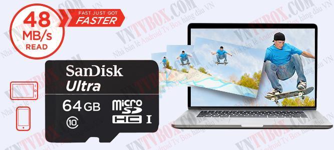 Thẻ nhớ mirco SD ScanDisk 64GB Class 10 chất lượng chuẩn quốc tế
