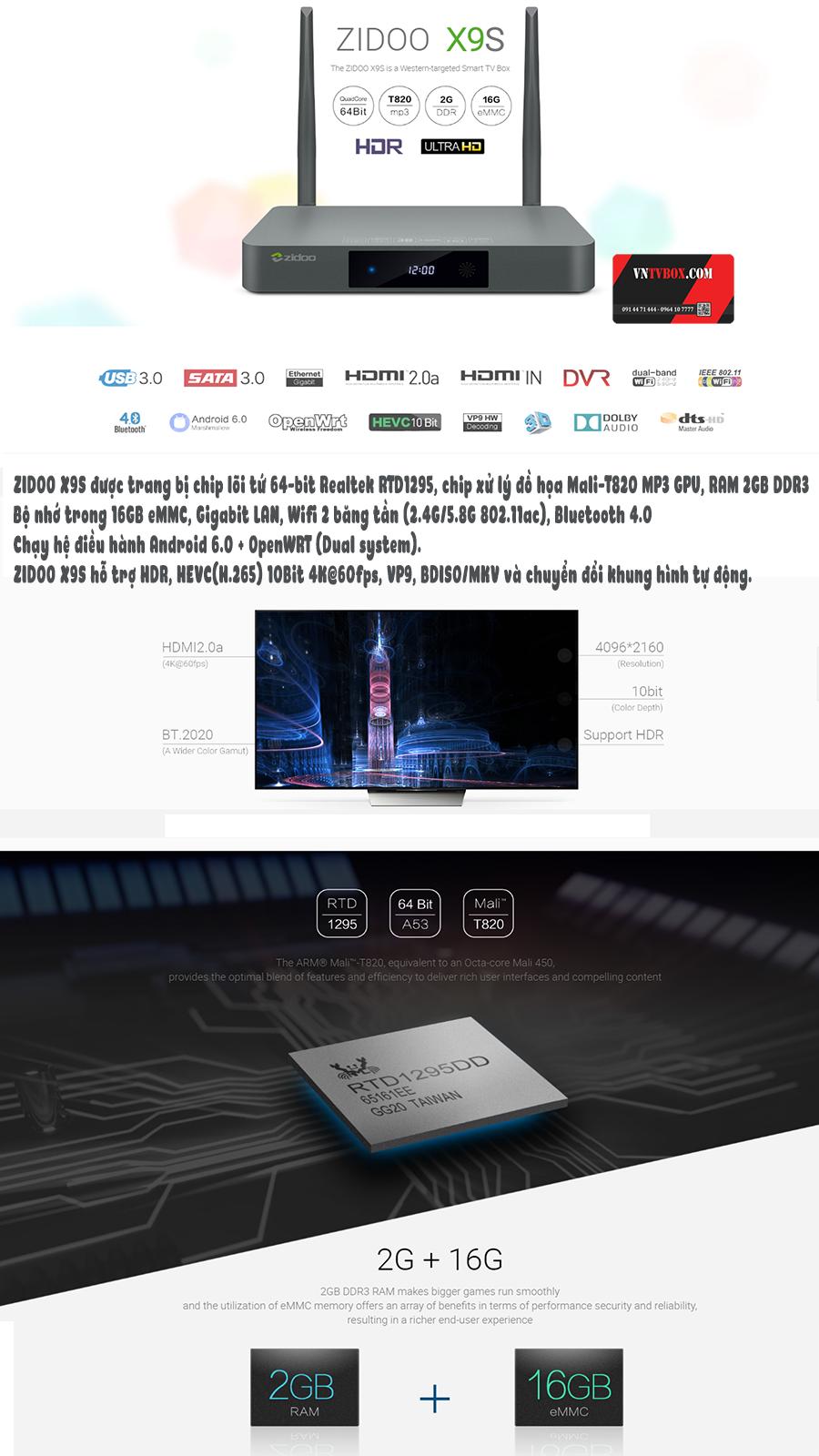 ZIDOO X9S Android TV Box cấu hình mạnh mẽ hệ điều hành 6.0
