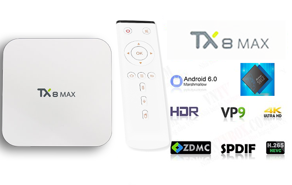 TV Box TX8 MAX Amlogic S912 Ram 3GB Rom 32GB mạnh mẽ bình dân