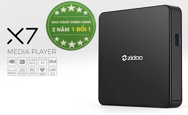 Tivi Box ZIDOO X7 chip 4 nhân RK3328 ram 2GB giá bình dân có bluetooth HĐH 7.1