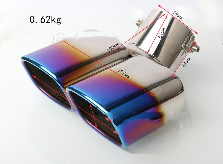 Ống xả độ cháy, kép vuông cong xe hơi OBD B11_007