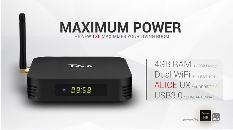 Tanix TX6 RAM 4GB/32GB Android 9.0 TV Box