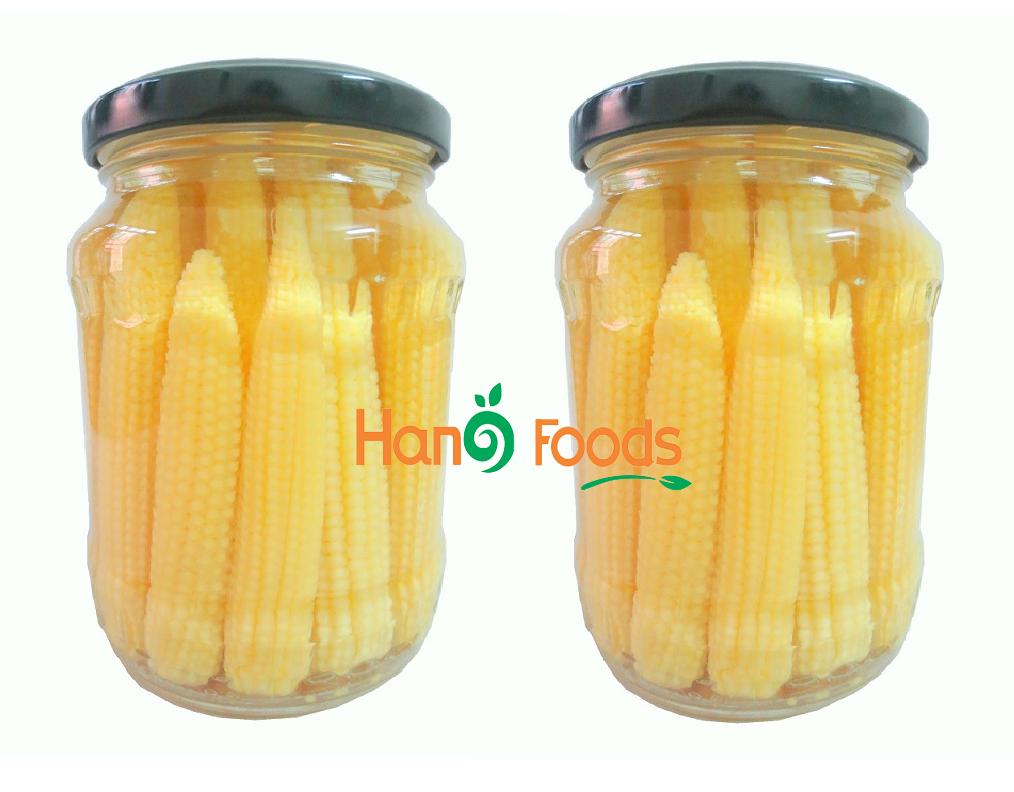 Baby corn in glass jar