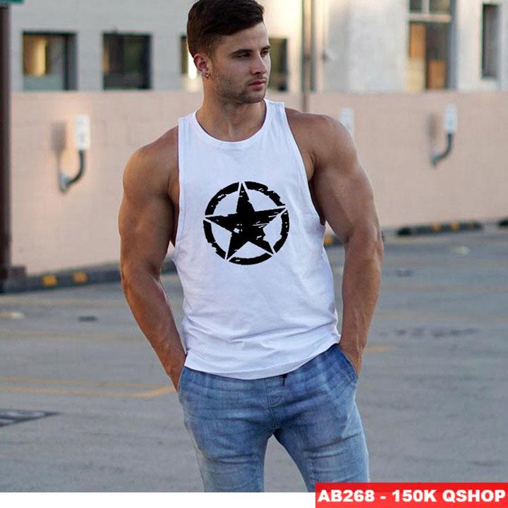 [Sale tại web] Áo 3 lỗ tập gym thun cotton AB268