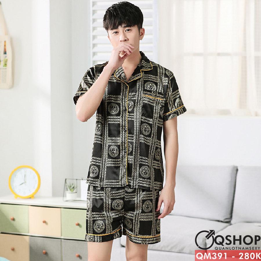 Bộ đồ pijama nam quần ngắn, tay ngắn lụa satin QM391