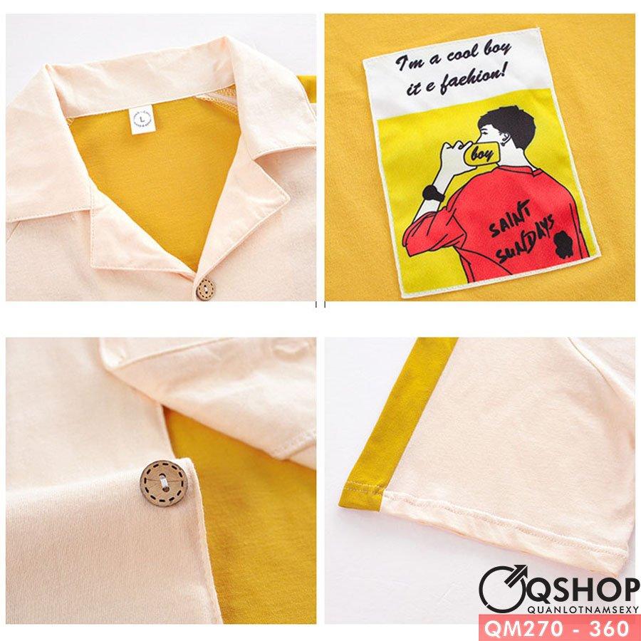 Bộ Pijama nam quần ngắn thun cotton thoáng mát QM270
