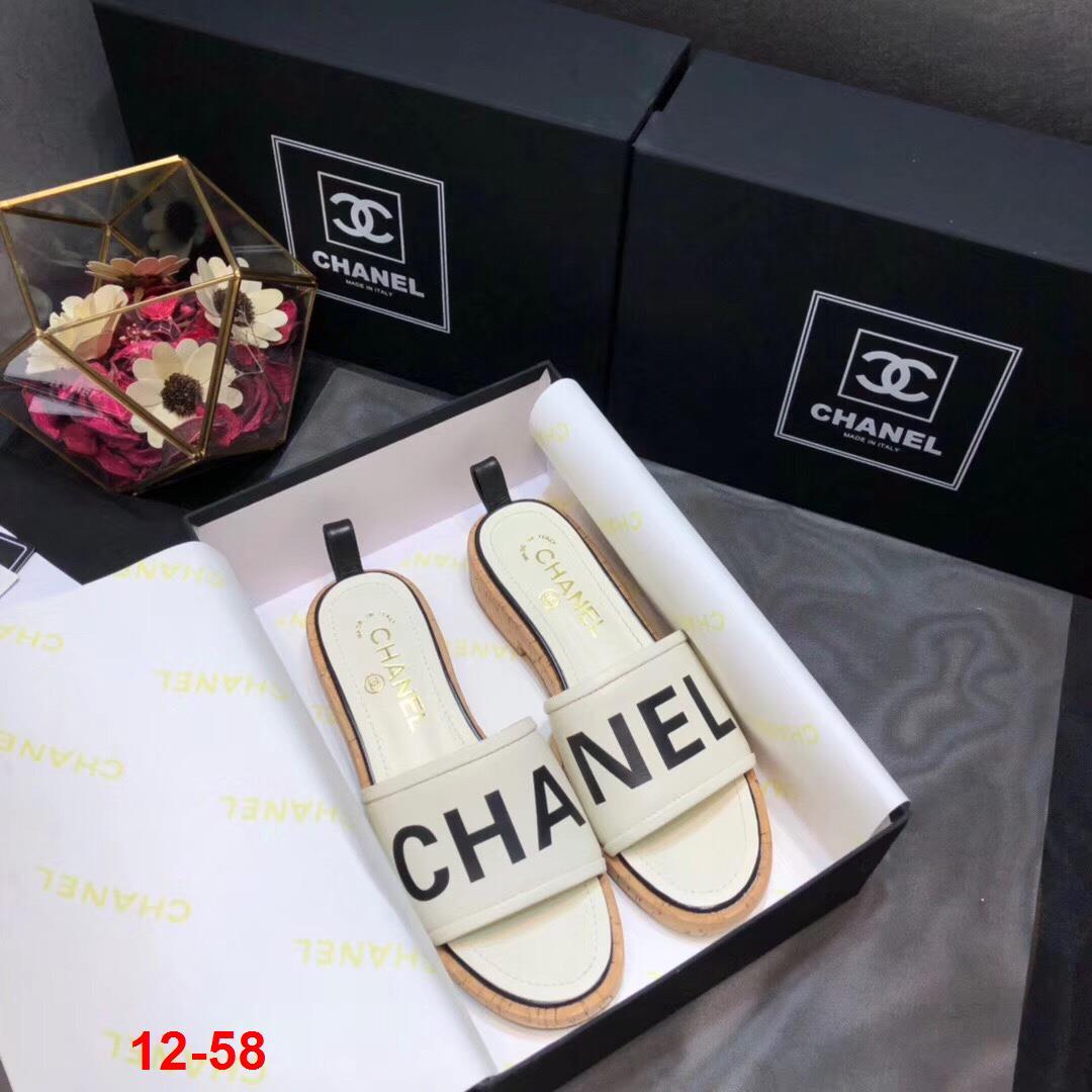 12-58 Chanel dép guốc gỗ cao 3cm siêu cấp