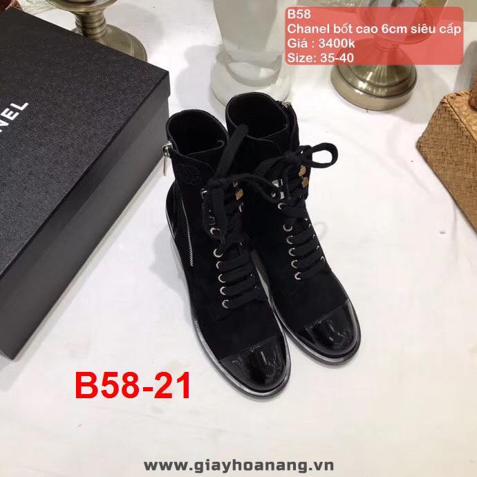 B58-21 Chanel bốt cao 6cm siêu cấp