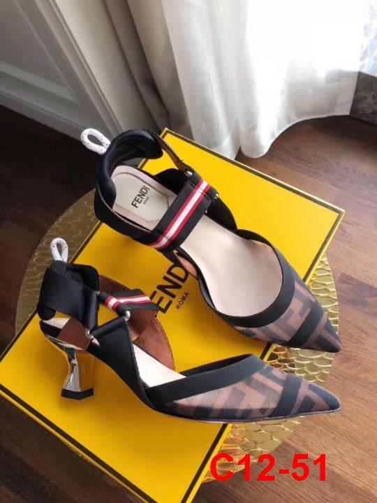 C12-51 Fendi sandal bệt, cao 5cm, 10cm siêu cấp