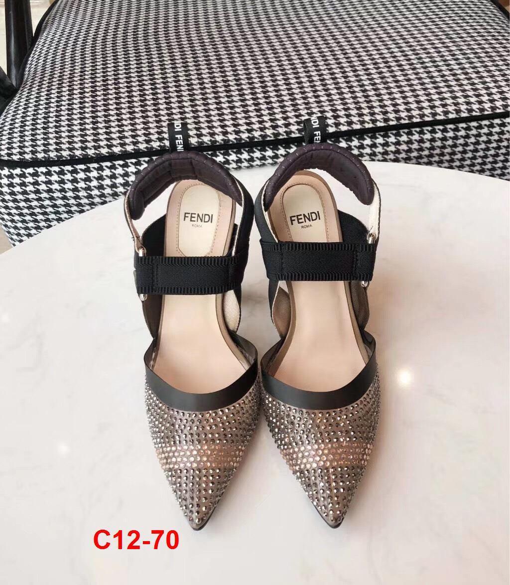 C12-70 Fendi sandal cao 5cm, 9cm siêu cấp