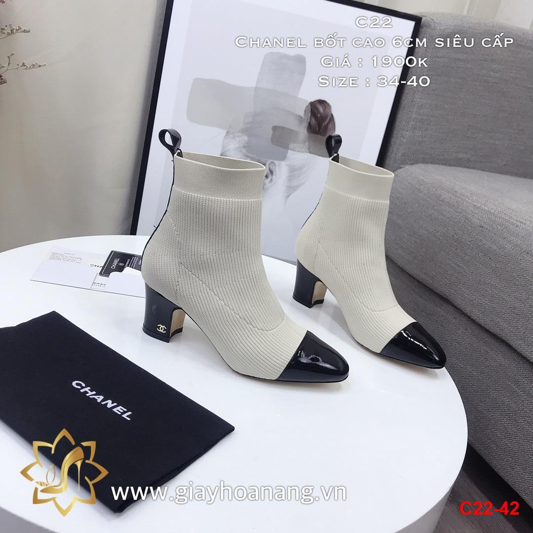 C22-42 Chanel bốt cao 6cm siêu cấp