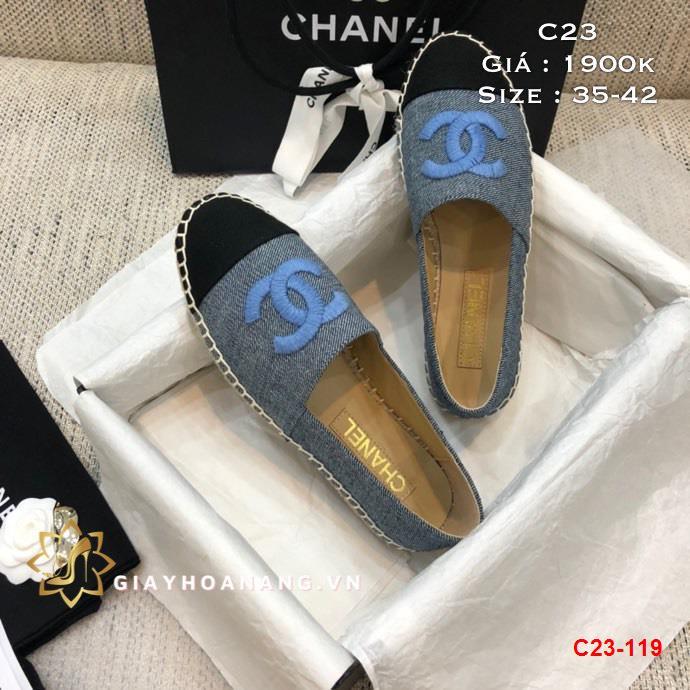 C23-119 Chanel giày lười đế cói siêu cấp