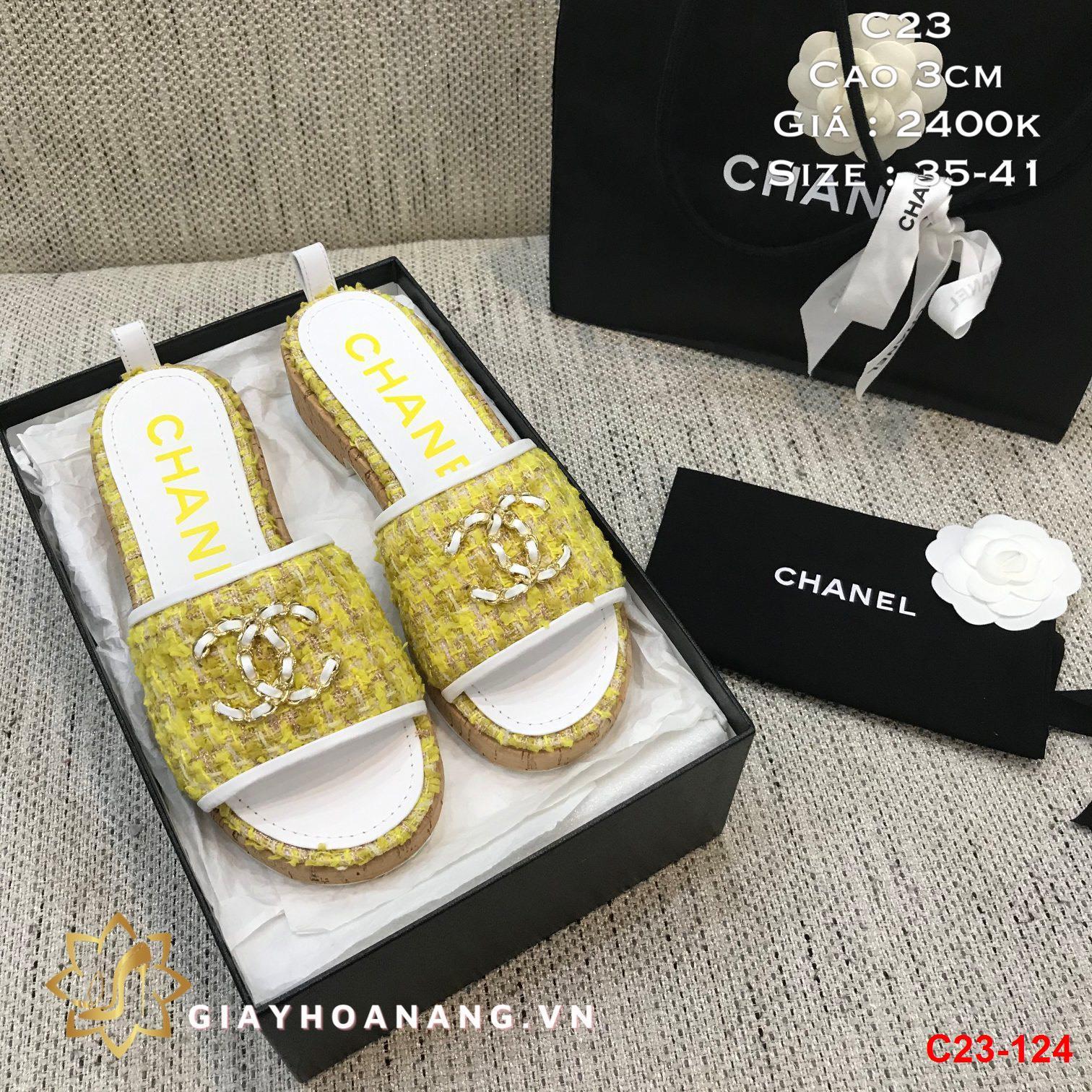 C23-124 Chanel dép cao 3cm siêu cấp