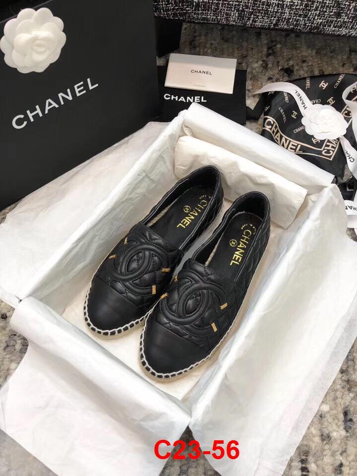 C23-56 Chanel giày lười đế cói bệt siêu cấp