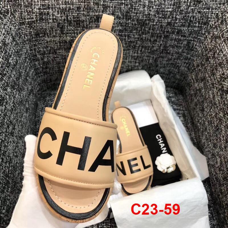 C23-59 Chanel dép guốc gỗ cao 4cm siêu cấp