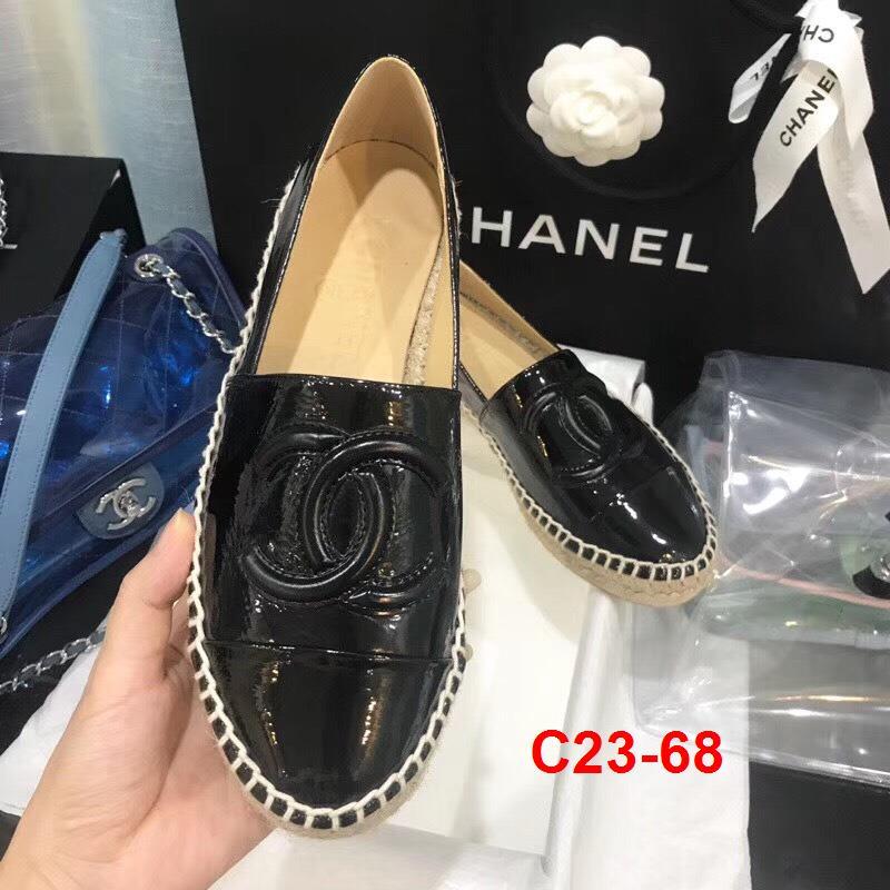 C23-68 Chanel giày lười đế cói siêu cấp