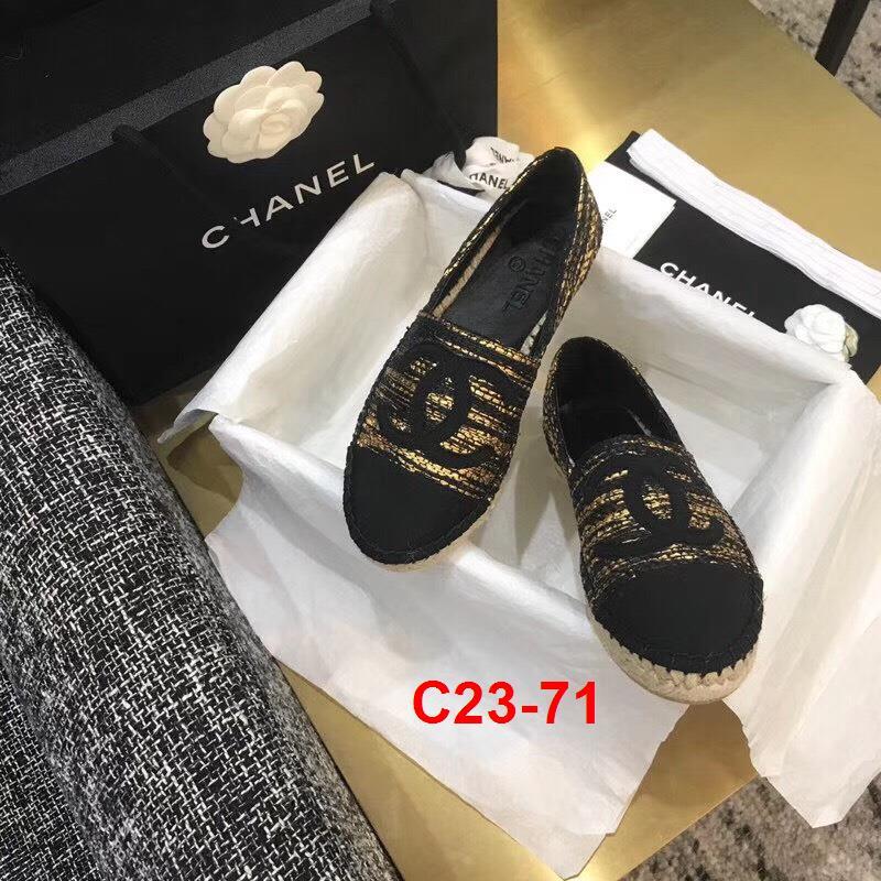 C23-71 Chanel giày lười đế cói siêu cấp