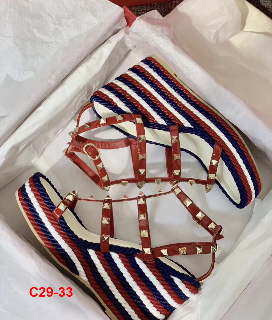 C29-33 Valentino sandal cao 10cm đế xuồng kếp 3cm siêu cấp