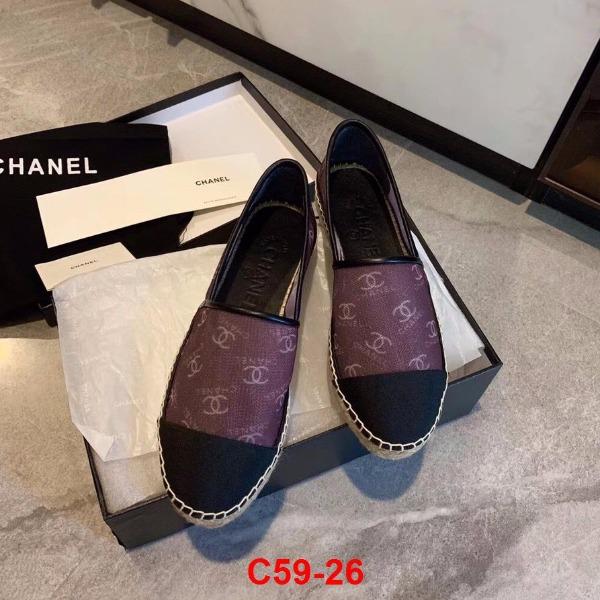 C59-26 Chanel giày lười đế cói siêu cấp