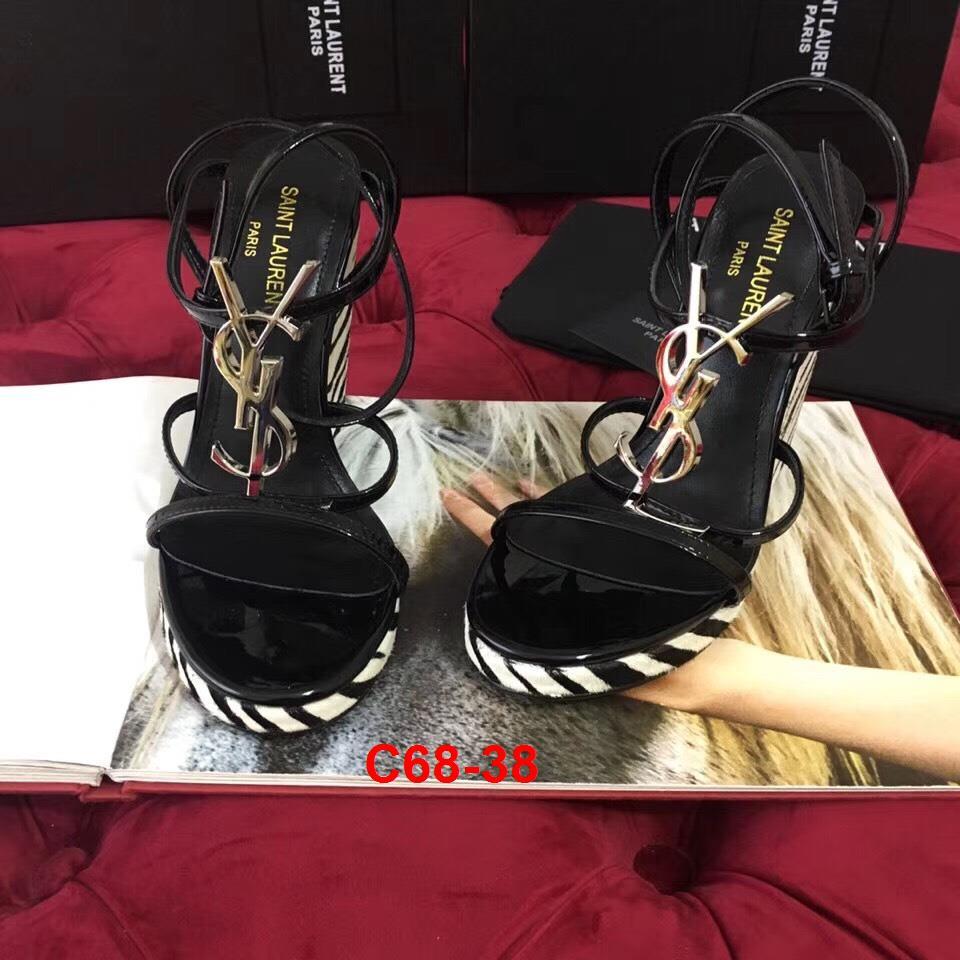 C68-38 Yves Saint Laurent YSL sandal cao 12cm đế xuồng siêu cấp