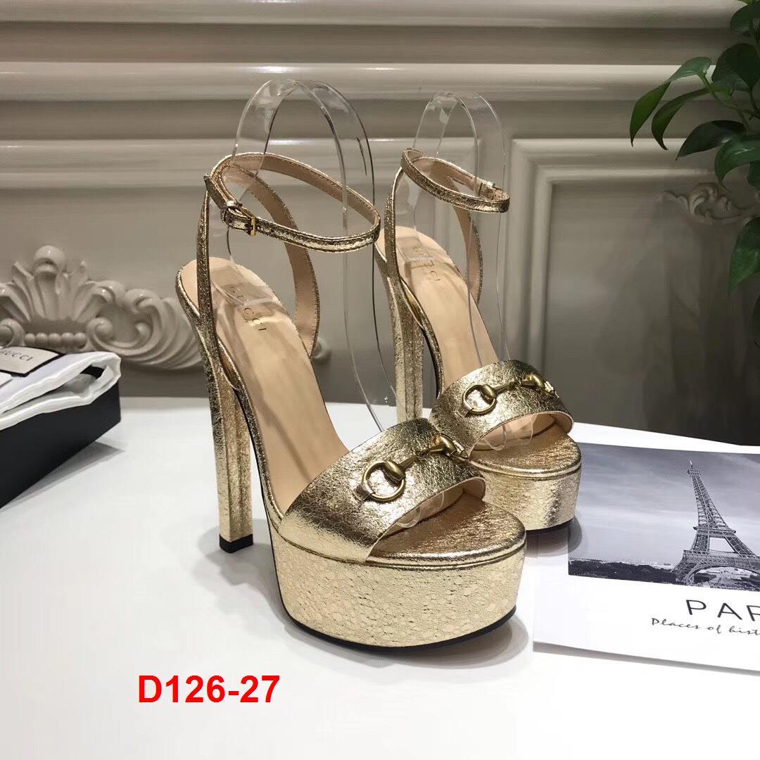 D126-27 Gucci sandal cao 14cm đế kếp 3cm siêu cấp