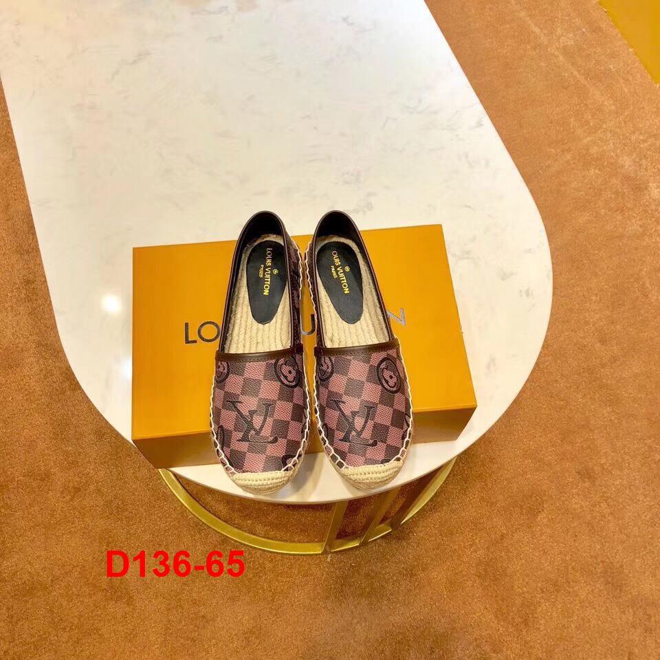 D136-65 Louis Vuitton giày lười đế cói siêu cấp