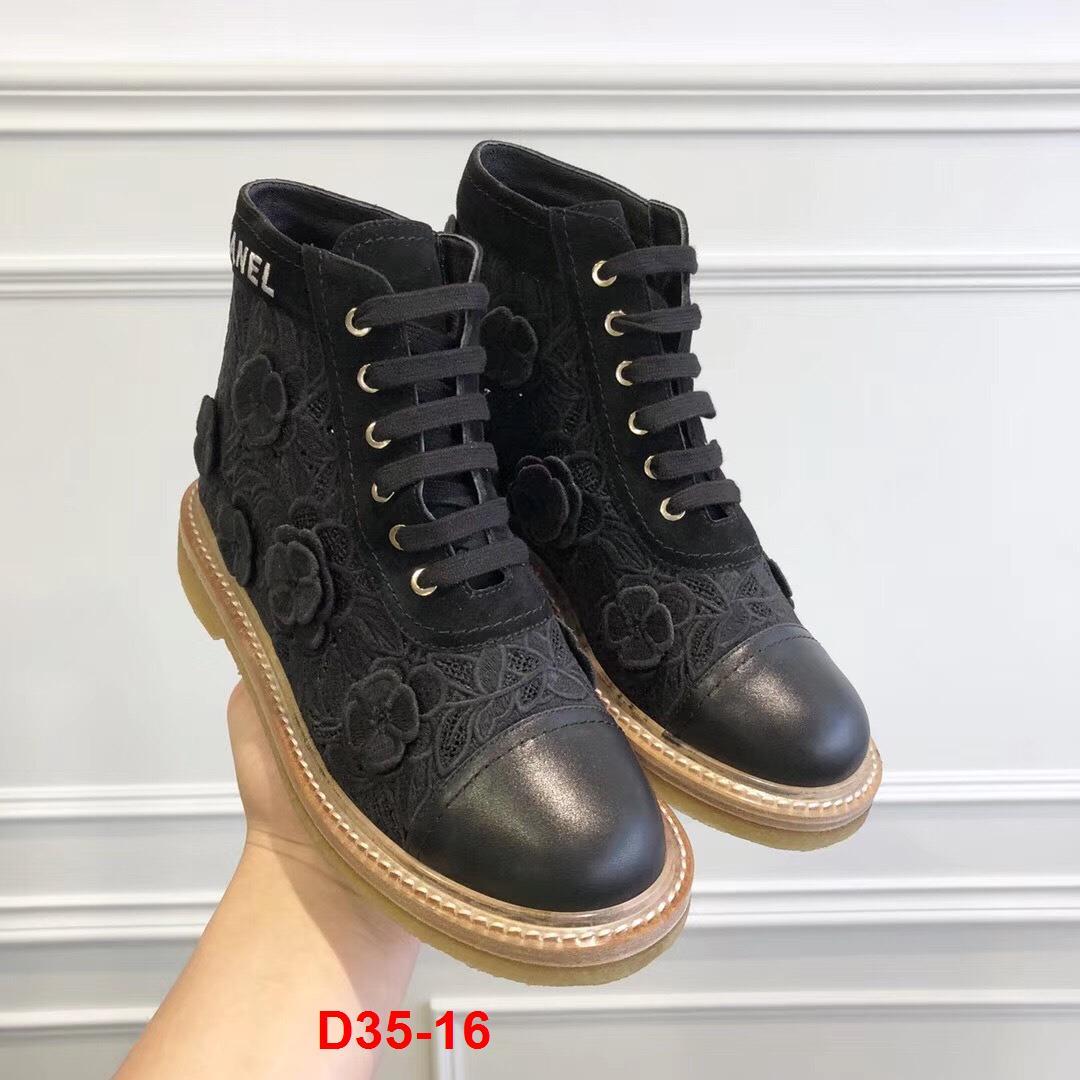 D35-16 Chanel bốt cao 2cm siêu cấp