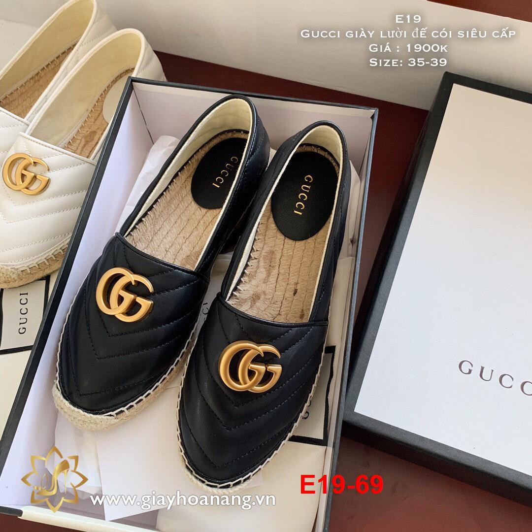 E19-69 Gucci giày lười đế cói siêu cấp
