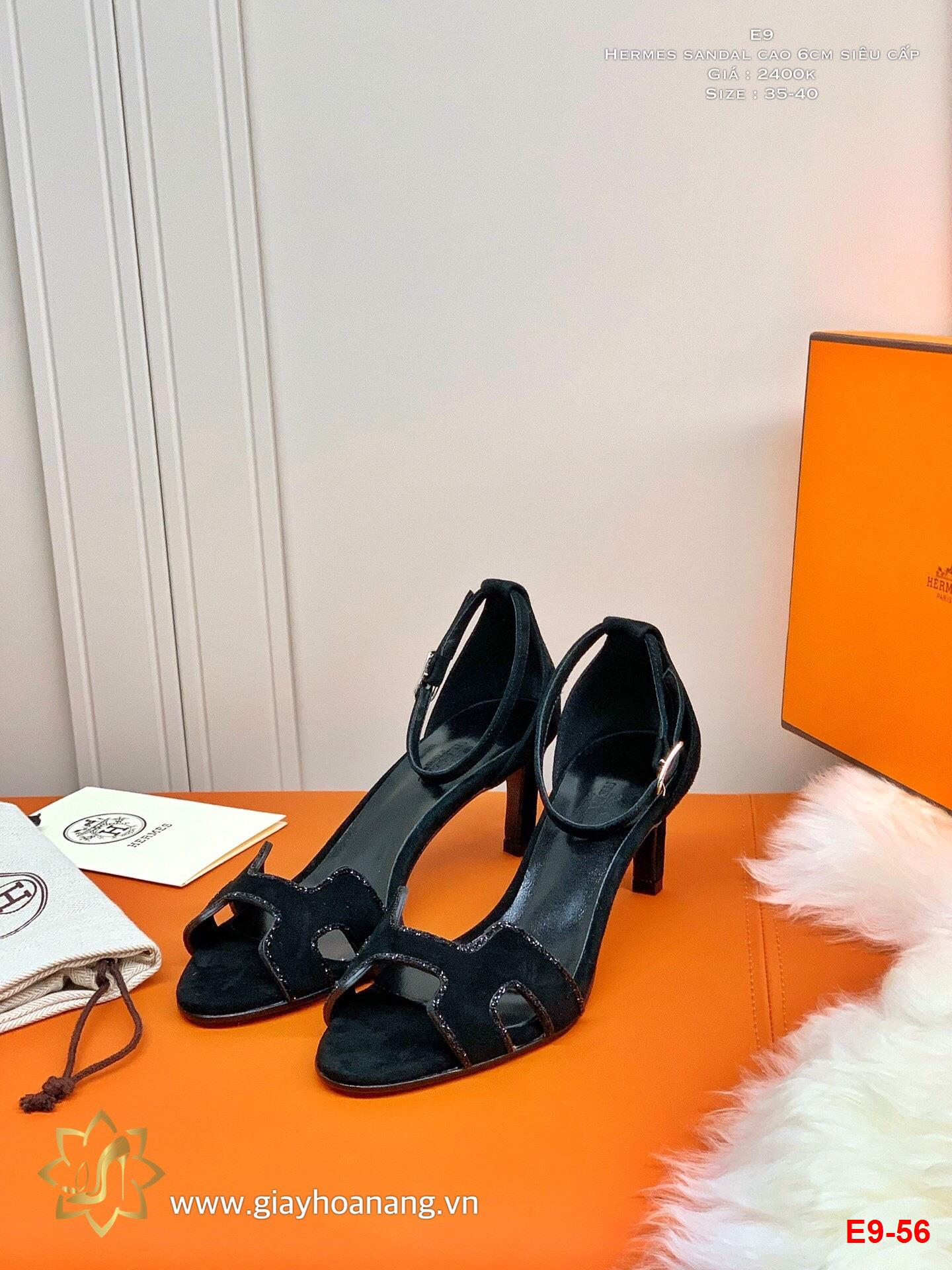 E9-56 Hermes sandal cao 6cm siêu cấp